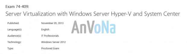 [Exam] 74-409: Server Virtualization with Windows Server Hyper-V and System Center